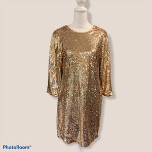 Lulus Gold Sequin Shift Dress Size S NWT